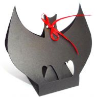 Black Bat Sweet Favour Box For Gothic Wedding. Halloween Party Box etc